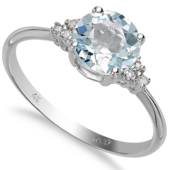 e3d874672171 Macy's Jewelry | 14k White Gold Aquamarine And Diamond Accent Ring ...